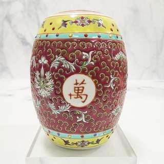 Old Jing De Zhen Red Porcelain Container Pot 早期景德镇粉彩红万寿无疆莲花鼓罐
