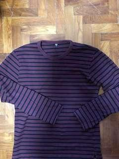 Uniqlo Striped Long Sleeve T-Shirt Red