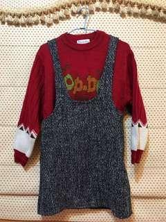 🚚 紅毛衣+背心裙