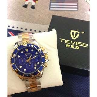 😎全新義大利特威斯 TEVISE 手錶 藍金水鬼 男錶 機械錶 三眼 生日禮物 情人節禮物 RC副牌 特維斯