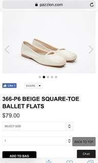 Pazzion BEIGE SQUARE-TOE BALLET FLATS size 38
