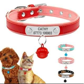 Customized Engraving Pet ID Leather Collar For Dog's & Cat's