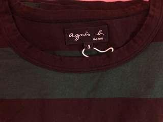 Agnes b Brown & Green Stripes Tee Size 3