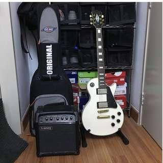 Santa Cruz Les Paul Custom White Guitar with Amp and Bag