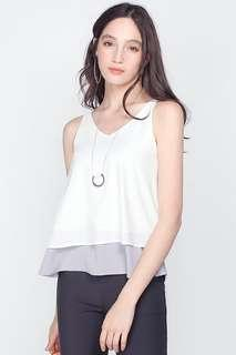 BN Fayth Majorca Colour Block Top in White/ Grey