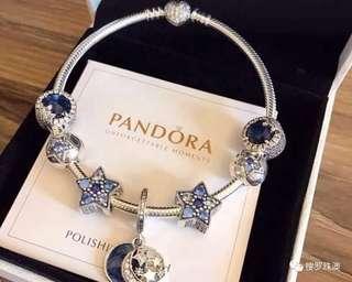 Pandora 925 silver bracelet with charms