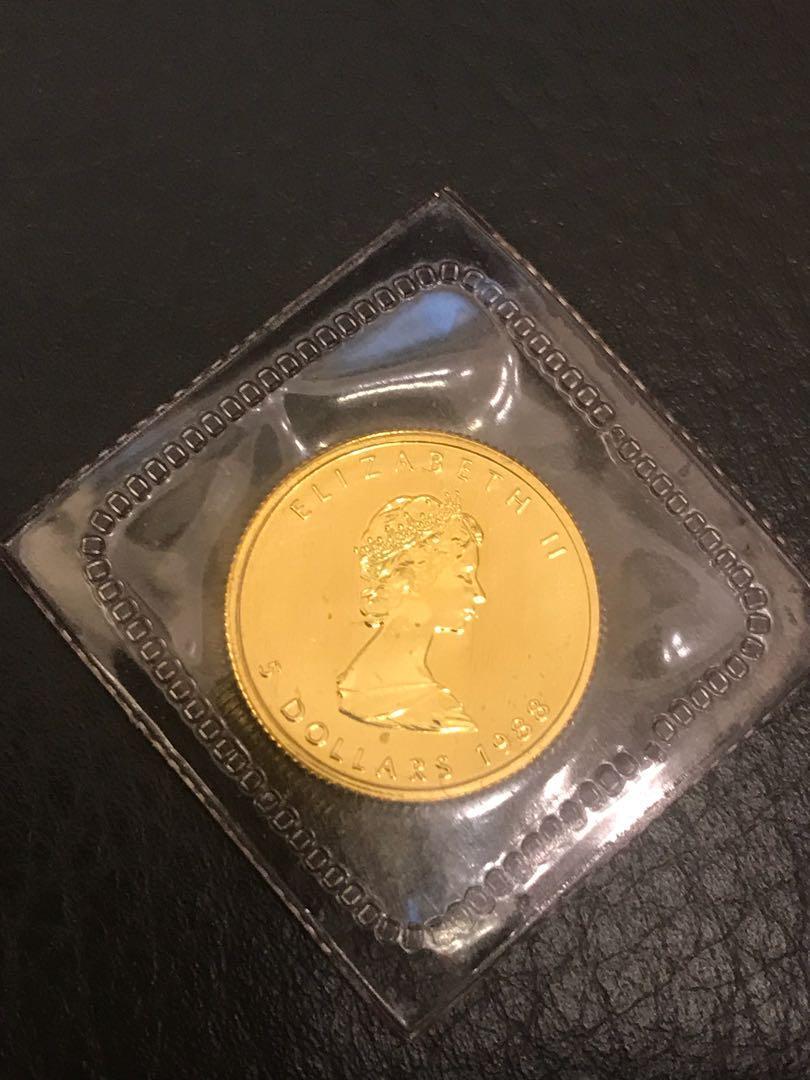 1988年原裝密封   楓葉金幣 當年版 1/10 oz 安士