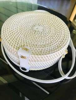 Hand-woven Rattan Bag White Colour Brand New
