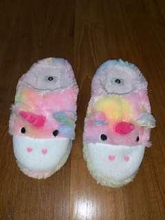 Fuzzy unicorn slippers