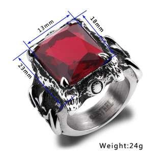 🚚 Japanese round table samurai inlaid ruby ​​ring
