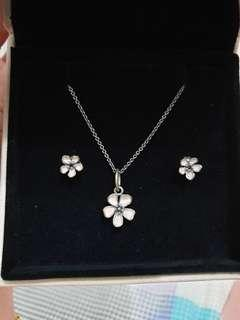 PANDORA necklace with earrings set (sweet light pink)