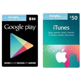 USA Google Play & iTunes Gift Cards (Digital Code)