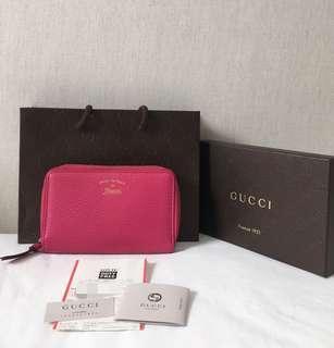 100% Authentic GUCCI Calfskin Long Zipper Wallet, Fuchsia, with receipt