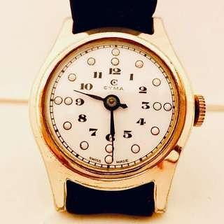 30/40年代 瑞士司馬白瓷錶面機械上鍊腕錶