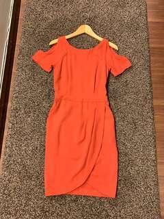 Warehouse Cold Shoulder Wrap Dress