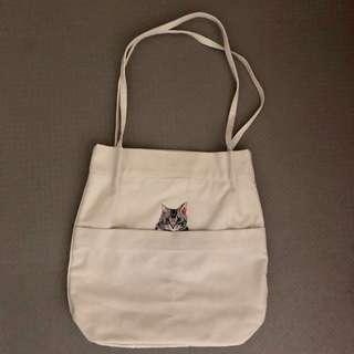 日系🇯🇵超級可愛刺繡貓咪帆布袋側背包