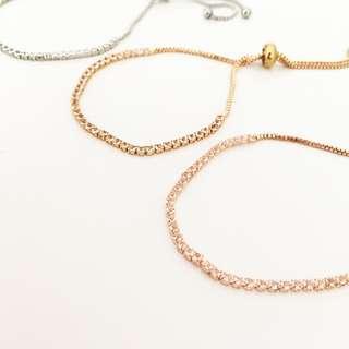 Diamond Chain Bracelet Jewellery Crystal Simple Rose Gold Silver