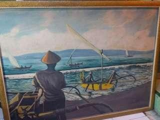 Lukisan kanvas oil.sang nelayan
