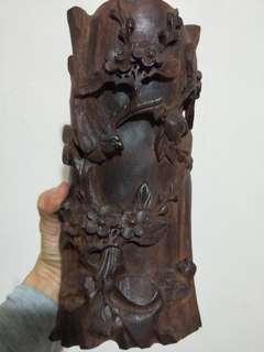 🚚 老酸枝原木雕喜鵲筆筒