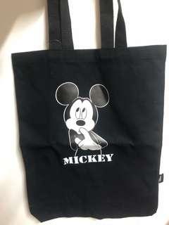 🚚 迪士尼 米奇 肩背黑帆布包