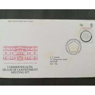 British First Day Cover- Commonwealth Heads of Government Meeting 1977