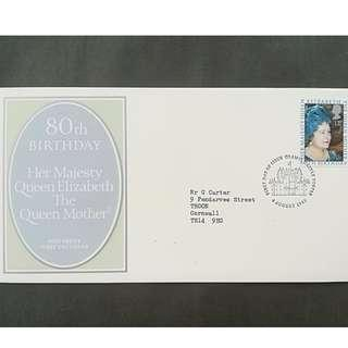 British First Day Cover- Her Majesty Queen Elizabeth The Queen Mother (80th Birthday)