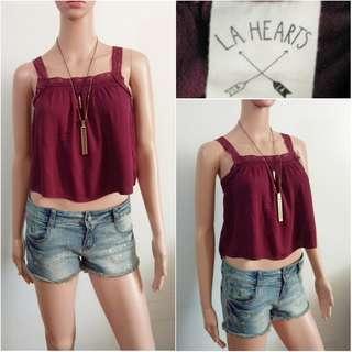 (XS) LA Hearts burgundy crop top