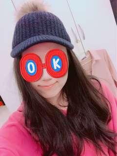 🚚 韓國帶回 深藍色毛球馬帽 後面有伸縮可調大小