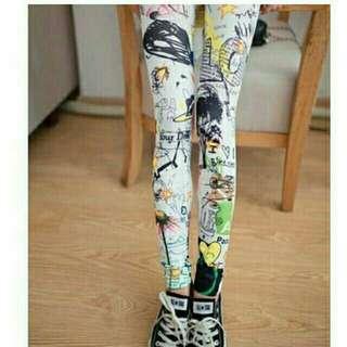 🚚 🍀打底褲🍀時尚日本個性卡通星星塗鴉打底褲