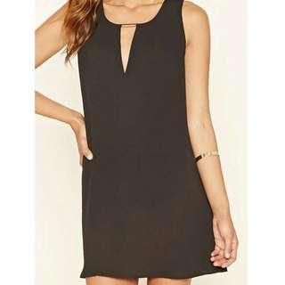 Black Shift Dress With Neck Detail
