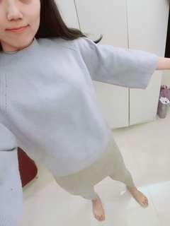 🚚 Mooncat 薰衣草紫八分袖毛衣 顏色可愛 穿起來顯白