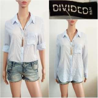 (M-L) Divided by H&M light blue polo top