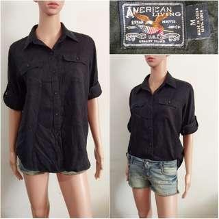 (M-XL) American Living black polo top