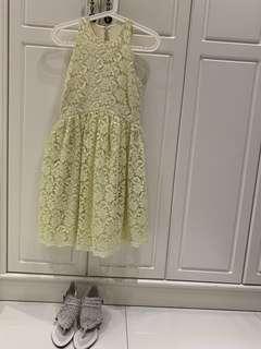 Zara黃色削肩背心裙