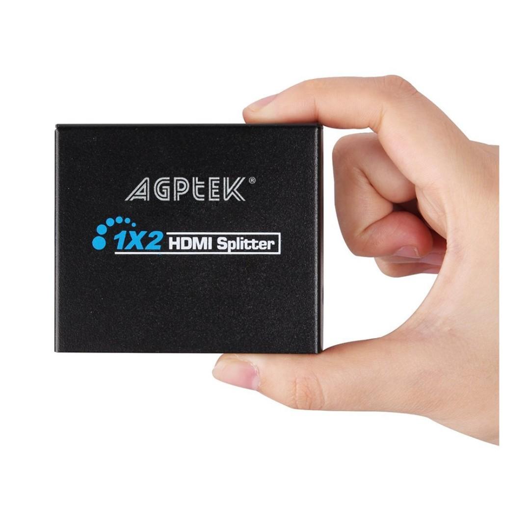 2685  AGPtEK Full HD 1080P 3D HDMI Splitter 1X2 HDCP Bypass - Splits HDMI  Signals to 2 HD Displays - Deep Color