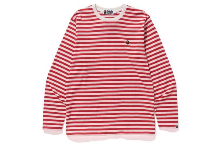 15deab99 A Bathing Ape Bape Long Sleeve College Striped T-Shirt, Men's ...