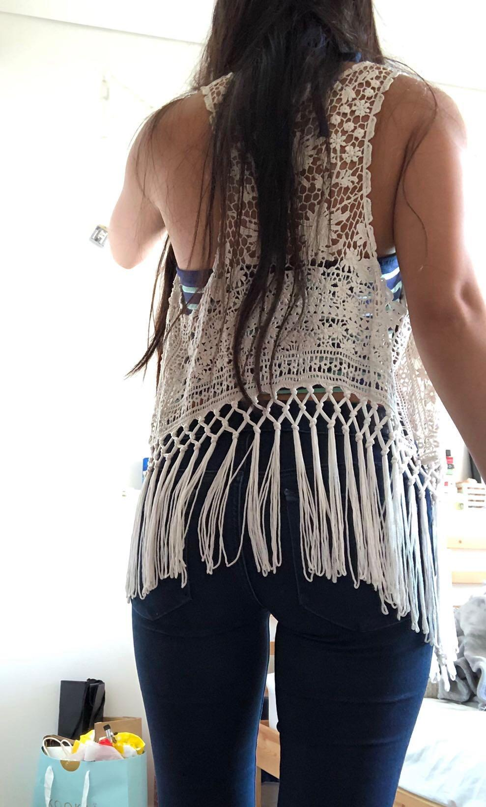 Abercrombie and Fitch A&F white fringed boho festival top