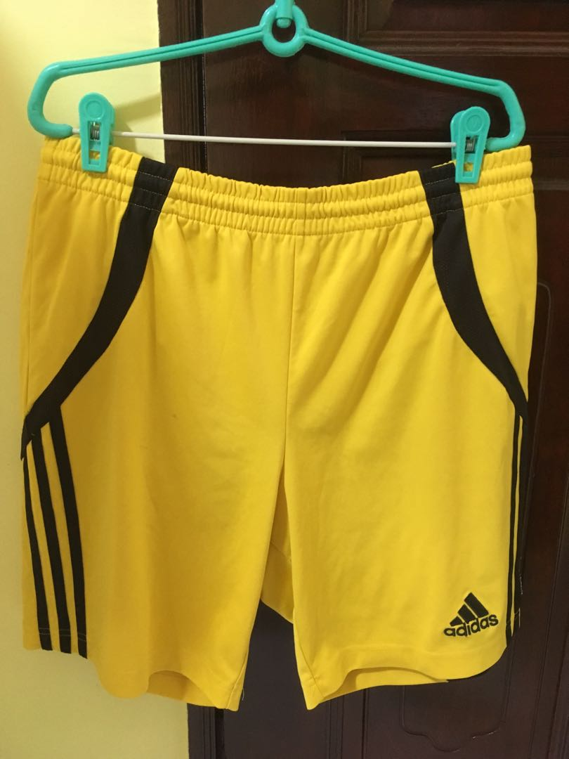 125e53b74103 AUTHENTIC Adidas Climalite Shorts LARGE Yellow Black Stripes FREE ...