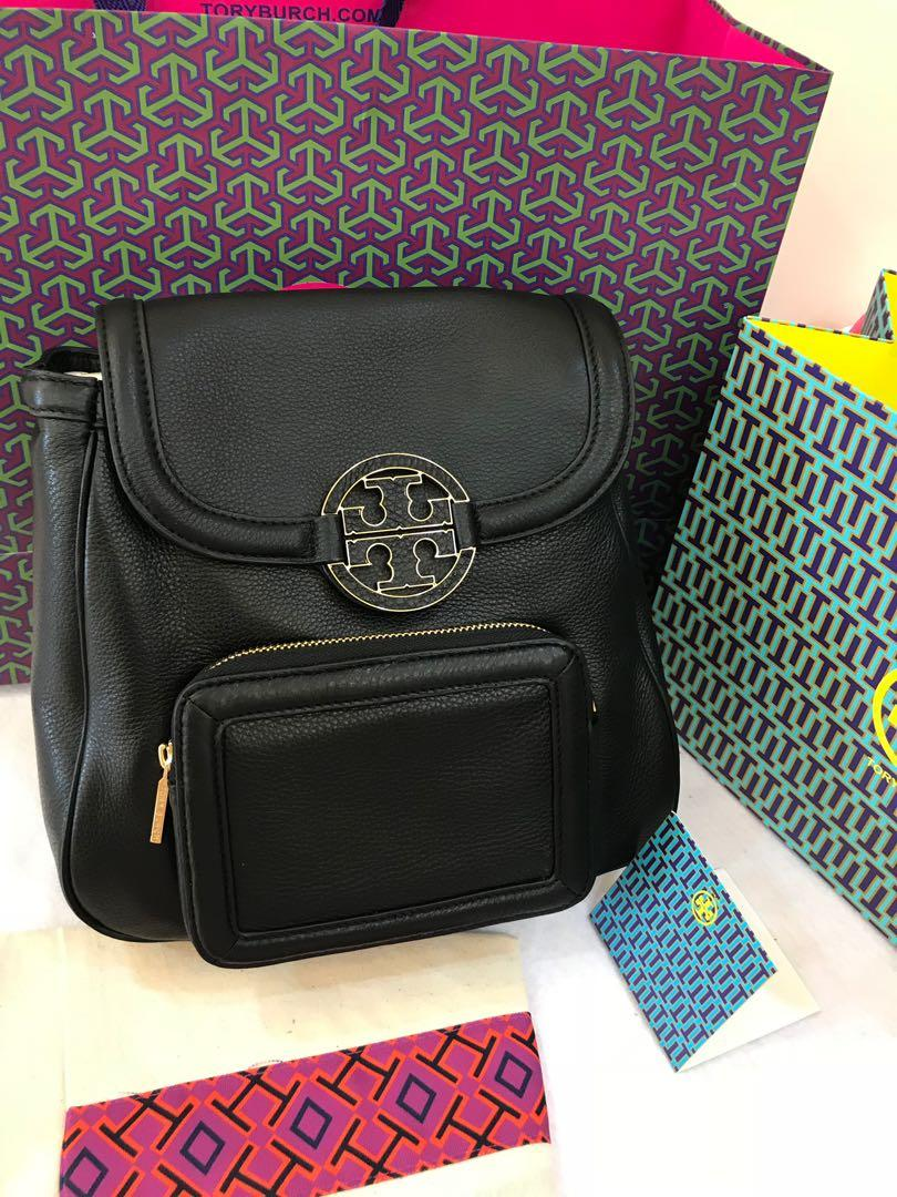 Authentic Tory Burch ready stock Amanda backpack 🎒 medium size