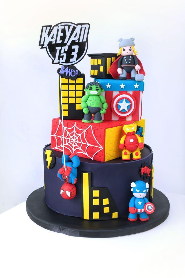 Astounding Avengers Birthday Cake Food Drinks Baked Goods On Carousell Funny Birthday Cards Online Alyptdamsfinfo
