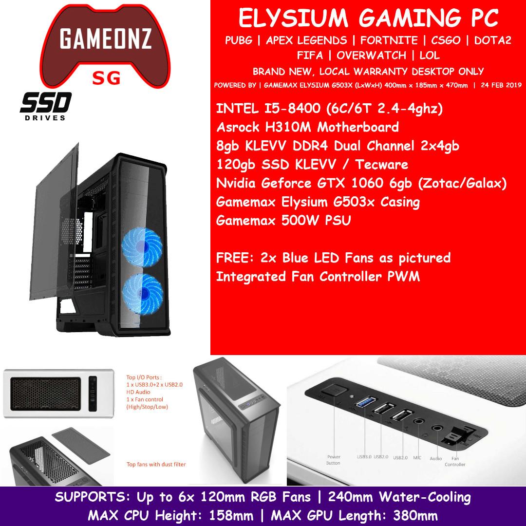BASIC ELYSIUM BUDGET GAMING PC INTEL I5-8400 8GB DUAL CHANNEL GTX 1060 6GB  NVIDIA GTX1060 GAMEMAX G503X ZOTAC GALAX G503XI5840010606
