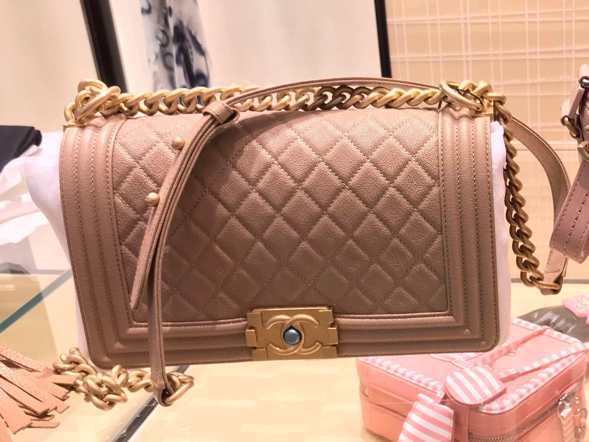 19740c0685f0 BN Authentic Chanel Nude Beige Boy Medium, Luxury, Bags & Wallets, Handbags  on Carousell
