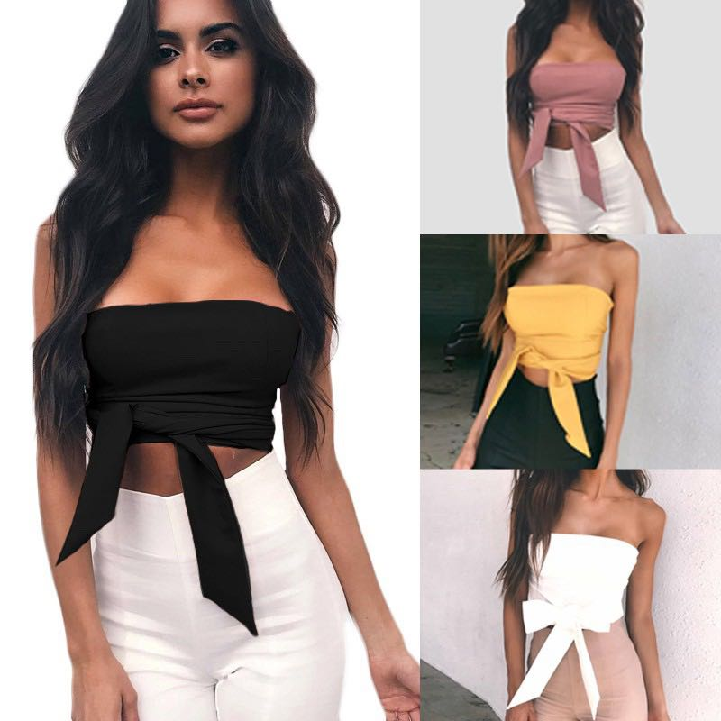 98a93490b9d Bodycon Crop Top Bandage Off Shoulder, Women's Fashion, Clothes, Tops on  Carousell