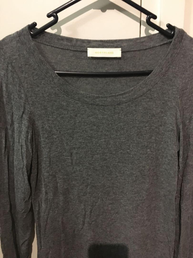 Dark grey long sleeve basic top with lace bottom (new)