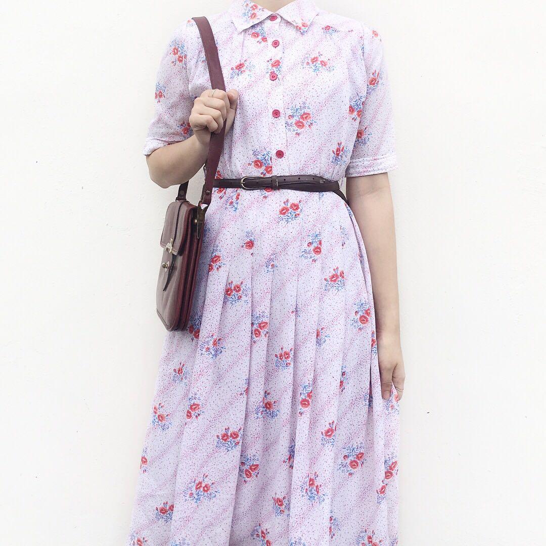 dc45165d06c0 Japan Vintage Floral Summer Dress - White