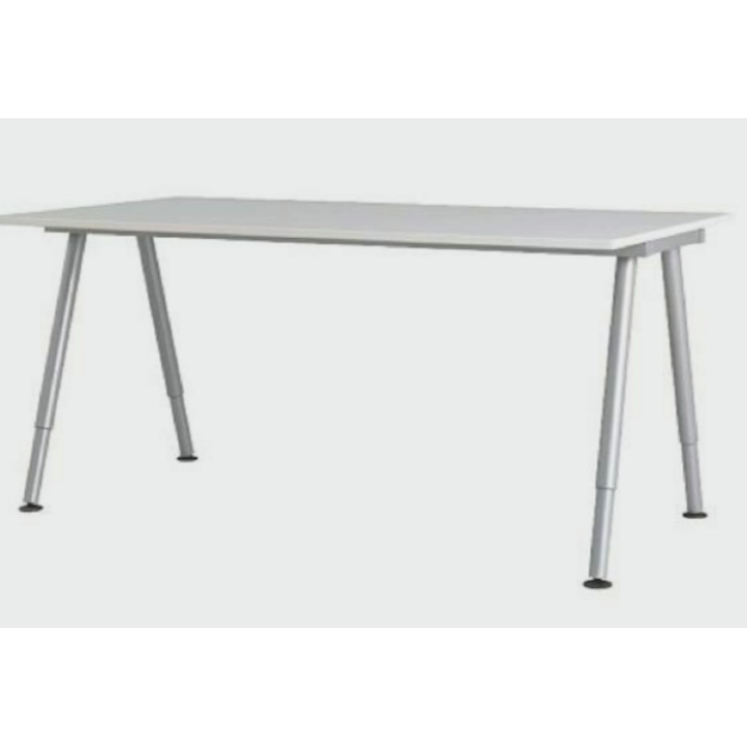 Ikea Galant Desk A Leg White Silver Furniture Tables Chairs On Carousell
