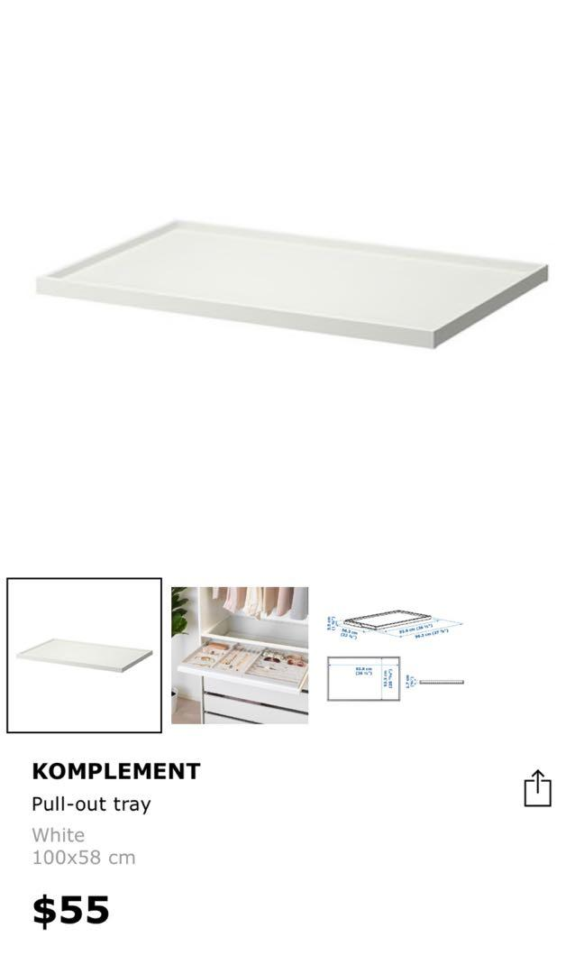 Ikea Komplement pull out tray and glass tray, Furniture