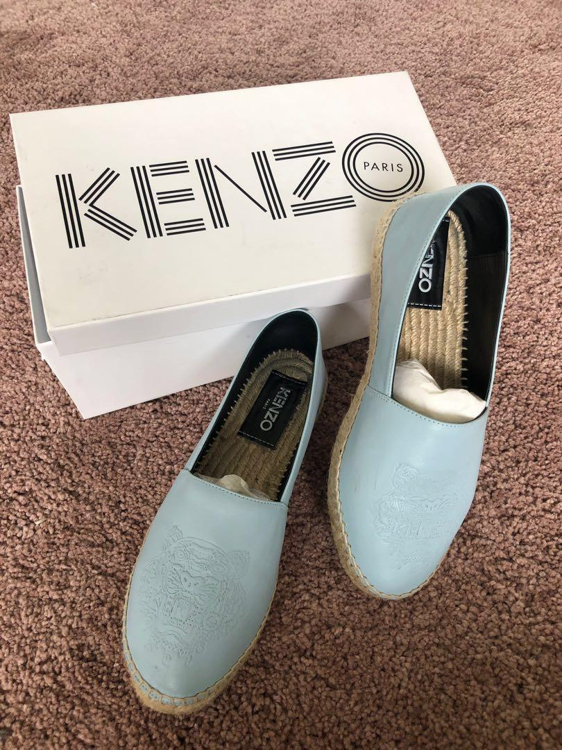 Kenzo leather sky blue espadrilles