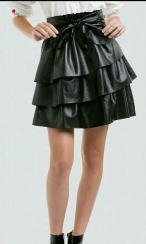 Leather Skirt / Ruffled Leather skirt
