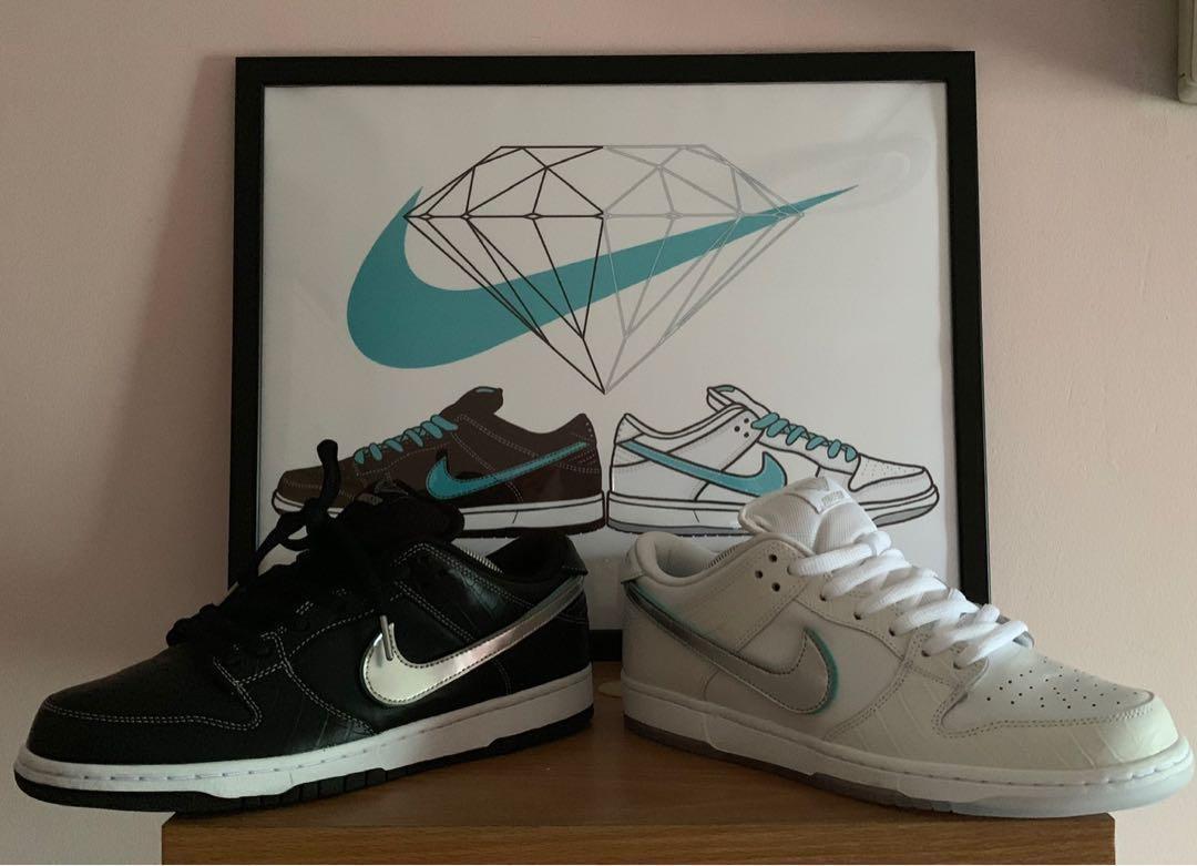 586f1765fa Nike SB Dunk White Diamond BNDS US11, Men's Fashion, Footwear, Sneakers on  Carousell